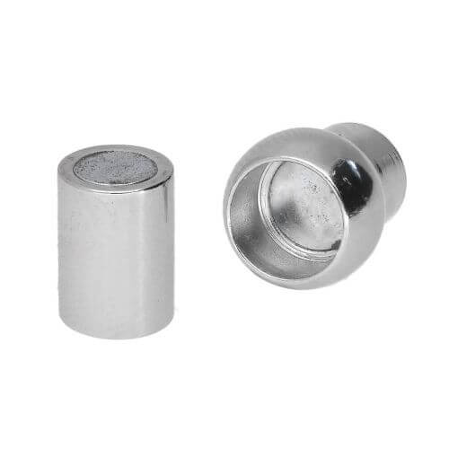 Magnetic clasp / copper / cylindrical with ball / 14x8x8mm / silver / hole 4mm / 1pcs