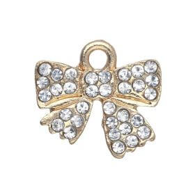 Glamm ™ Bow / charm pendant / with zircons / 36.5x13mm / gold plated / 1pcs