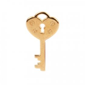 Gold Plated Zamak Heart Key Charm 12x21mm Pk1