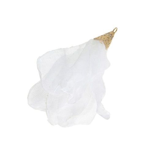Chiffon flower / with openwork tip / 55mm / Gold Plated / white / 1pc
