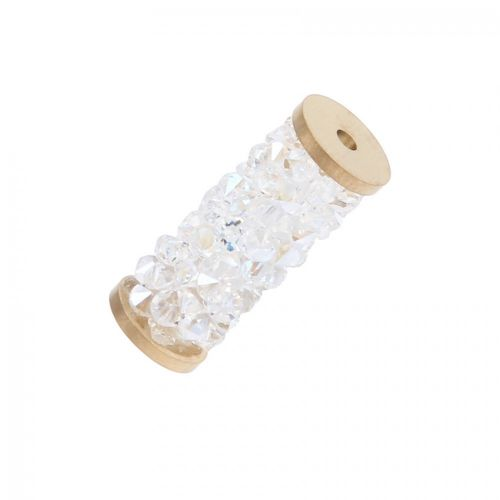 5950 Swarovski Crystal Fine Rocks Tube Bead 15mm Gold Plated Moonlight Pk1