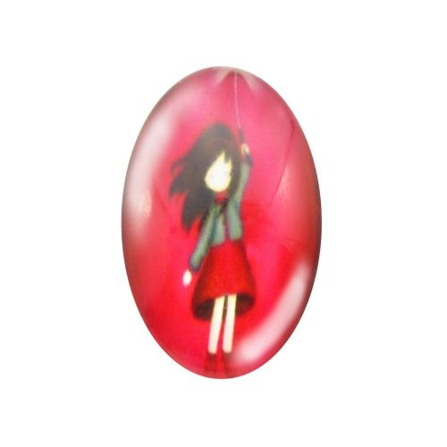 Glass cabochon with graphics oval 13x18mm PT1503 / red / 2pcs