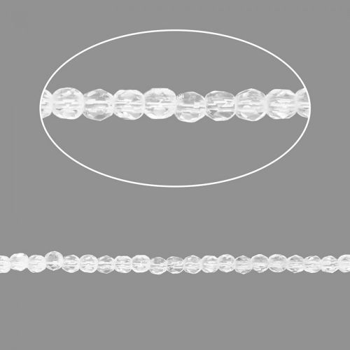 Crystal Clear Czech Glass Fire Polish Beads 2mm Pk100