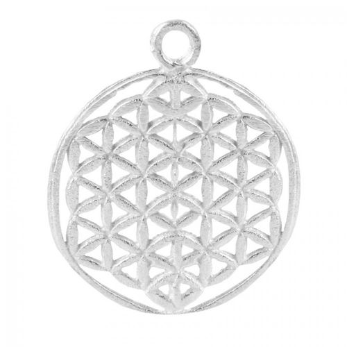 Silver Plated Brushed Filigree Round Pendant 30mm Pk2