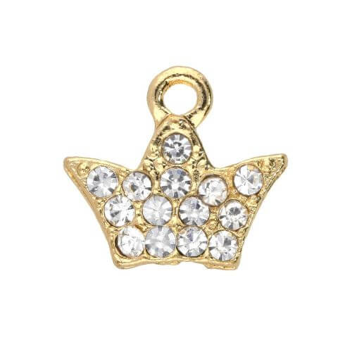 Glamm ™ Clover / charm pendant / with zircons / 11x12x2mm / gold plated / 2pcs
