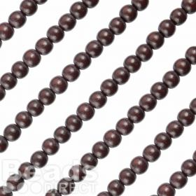 Round Wood Bead in Chocolate Brown 8mm 16in Strand