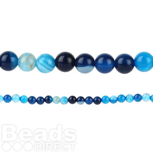 "Blue Striped Agate Round Beads 4mm 15"" Strand"