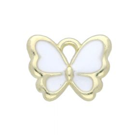 SweetCharm ™ Butterfly / charm pendant / 10x12.5x2mm / gold plated / white / 2pcs