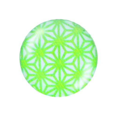 Glass cabochon with graphics K25 PT1370 / green and white / 25mm / 2pcs