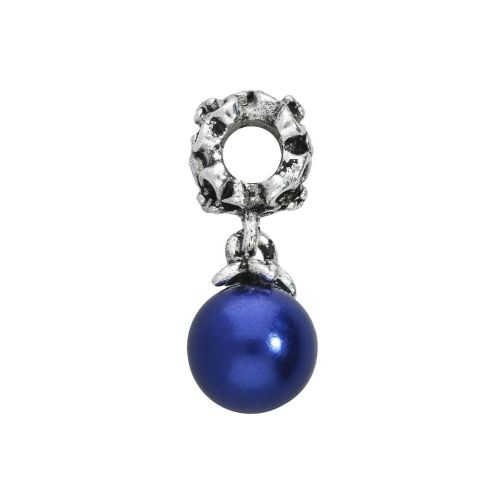 Floral charm with pearl / charm pendant / 25x10x10mm / silver-cobalt / 1pcs