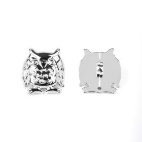 Silver Colour Acrylic Owl Button Underside Hole 17mm Pk2