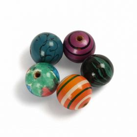 Hand Painted Wooden Beads 20mm Pk5