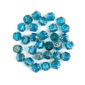 Preciosa Pressed Cathedral Beads Teal/Silver 6mm Pk30