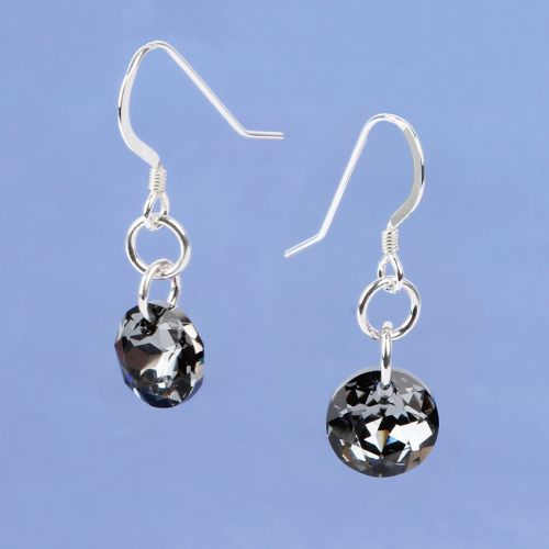 X-Silver Night Classic Cut Sterling Silver Earrings made with Swarovski - Makes x1