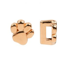 Rose Gold Plated Zamak Paw Print Slider Charm Bead 2x5x9mm Pk1