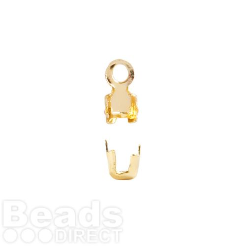 Gold Plated Brass Cupchain Ends for 2mm Cupchain Pk20