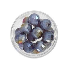 CrystaLove ™ / frosted / faceted glass crystals / round / 10mm / violet / opalescent / 10pcs