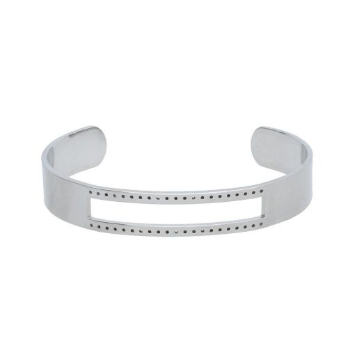 Bracelet base / for beading / surgical steel / 61x49x1.5mm / silver / 1pcs